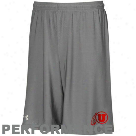 Under Armouur Utah Utes Gray Heatgear Performance Micro Shorts