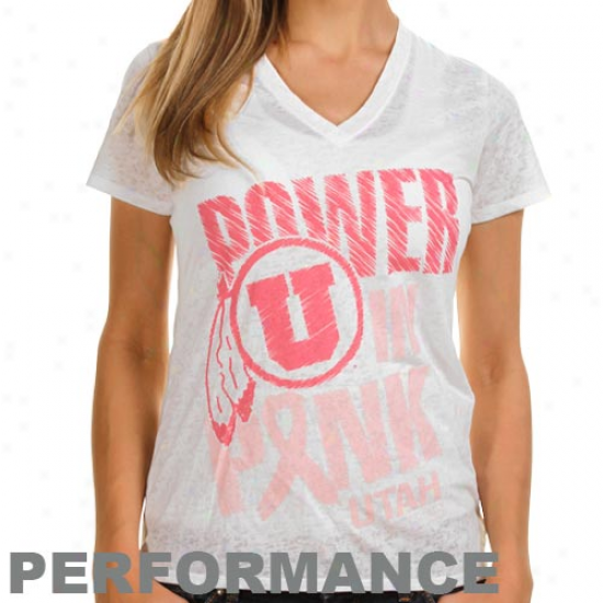 Under Armour Utah Utes Power In Pink Burnout V-neck Premium Performance T-shirt - Happy