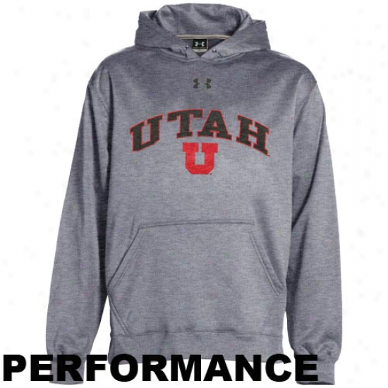 Under Armour Utah Utes Youth Ash Armour Fleece Performance Hoody Sweatshirt