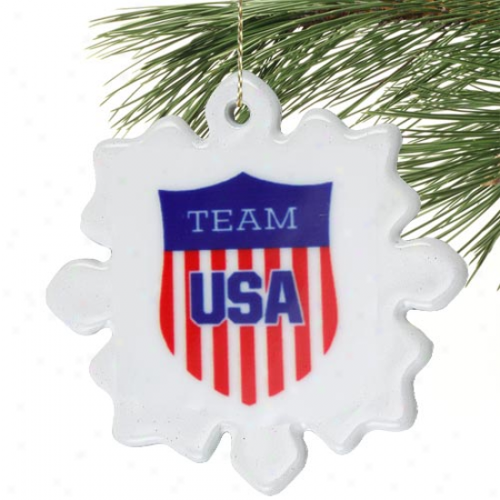 Usa Olympic Team Crest Snowflake Porcelain Holiday Ornament