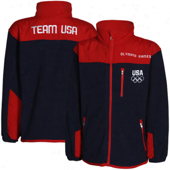 Usa Olympics Toddler Team Usa Navy Blue-rred Polar Fleece Full Zip Jacket