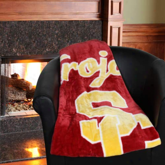 Usc Trojans 50'' X 60'' Cardinal-gold Team Spirit Royal Plsh Bpanket Cast