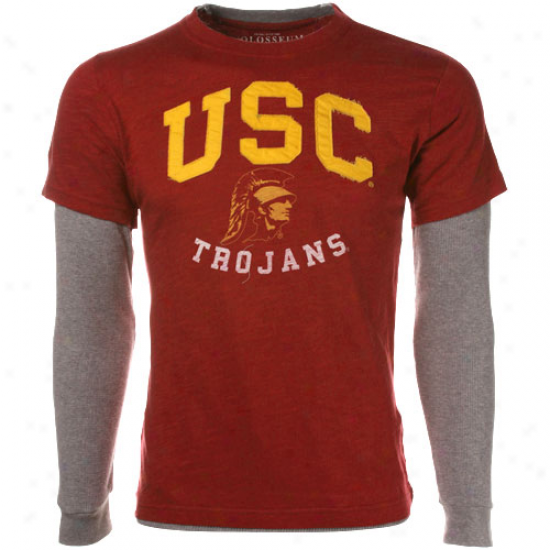 Usc Trojans Cardunal-ash Highlight Slub Layered Long Sleeve Thermal T-shirt