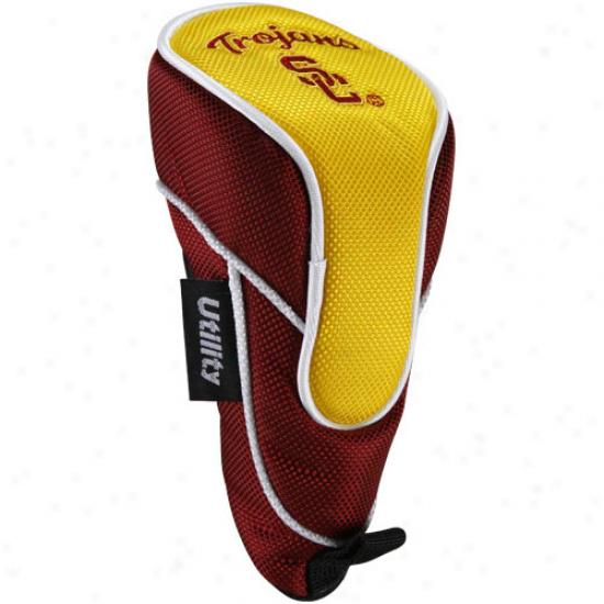 Usc Trojans Cardinal-gold Shaft Gripper Utility Golf Club Headcover-