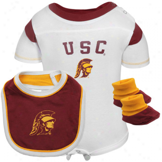 Usc Trojans Creepee, Bib & Booties Set - Cardinal/white