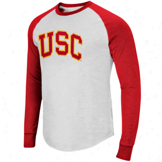 Usc Trojans Pressbox Slub Raglan Long Sleeve T-shirt - White/cardinal