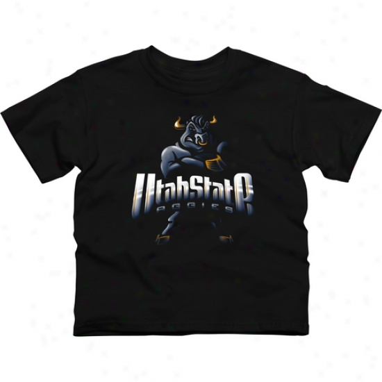 Utah State Aggies Youth Blackout T-shirt - Black