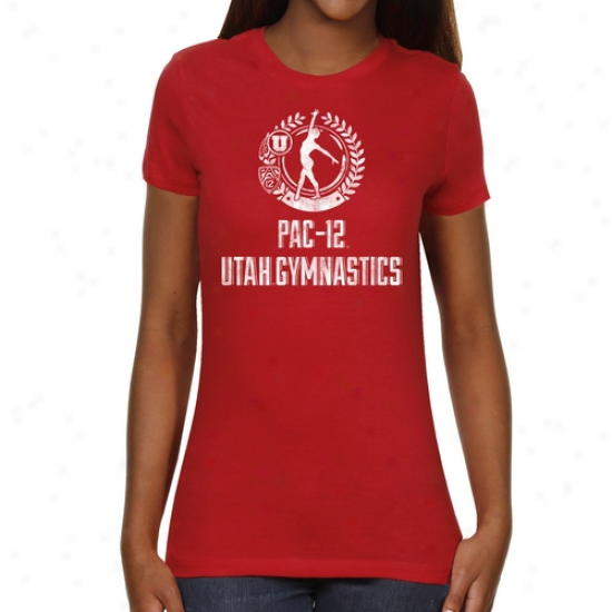 Utah Utes Lades Perfect Dismount Slim Fit T-shirt - Red