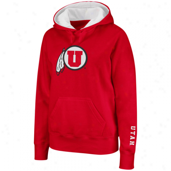 Utah Utes Ladies Red Big Logo Pullover Hoodie Sweatshirt