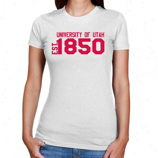 Utah Utes Ladies White Est. Date Slim Fit T-shirt