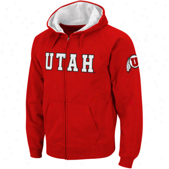 Utah Utes Red Classic Twill Ii Full Zip Hoodie Sweatshirt