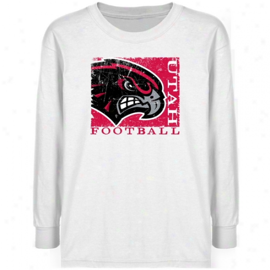 Utah Utes Youth White Sport Stajp T-shirt