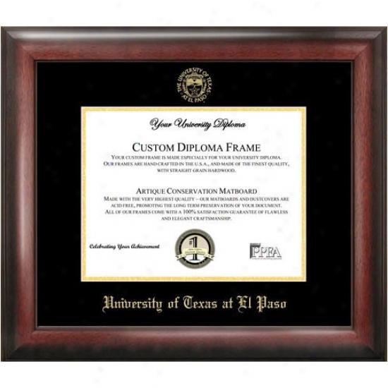 Utep Miners Satin Mahogany Embossed Seal Diploma Frame