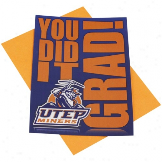 Utep Miners Team Logo Graduation Card