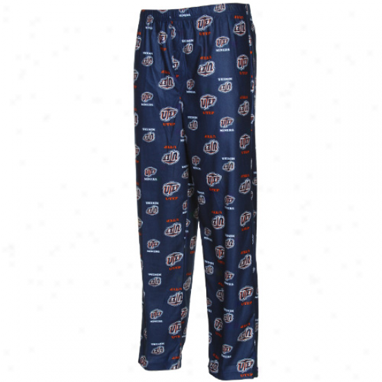 Utep Miners Youth Navy Blue Team Logo Flannel Pajama Pants