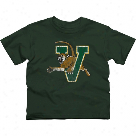 Vermont Catamounts Youth Distressed Primary T-shir t- Green