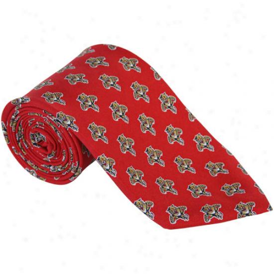 Vineyard Vines Florida Panthers Red Mini Logo Silk Tie
