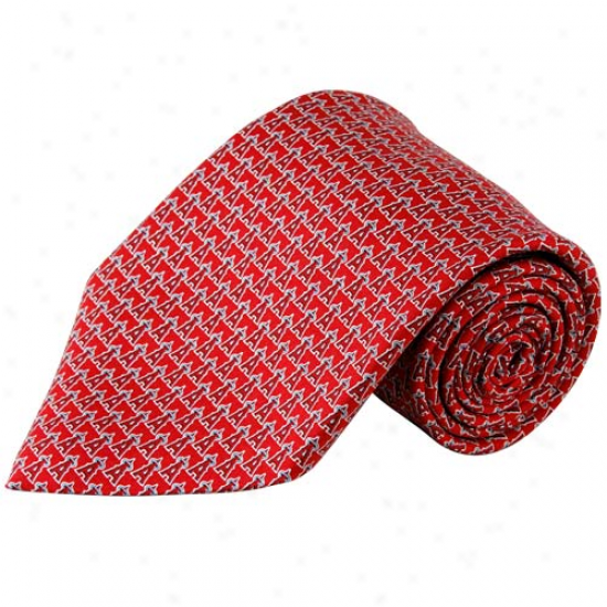 Vineyard Vines Loa Angeles Angels Of Anaheim Red Silk Tie