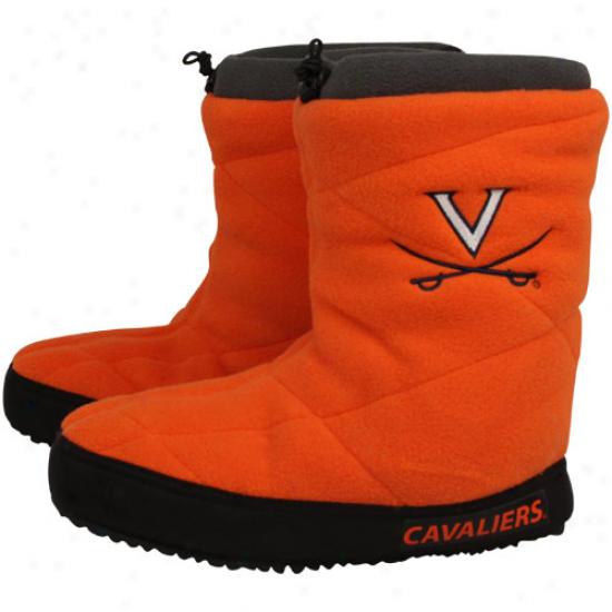 Virginia Cavaliers Ladies Orange Fleece Slipper Booties