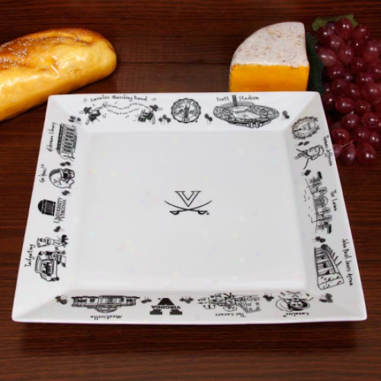 Virginia Cavaliers White Signature Etched Serving Platter