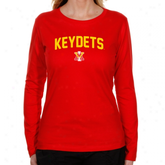 Virginia Military Scientific body Keydets Ladies Mascot Logo Long Sleeve Classic Fit T-shirt - Red