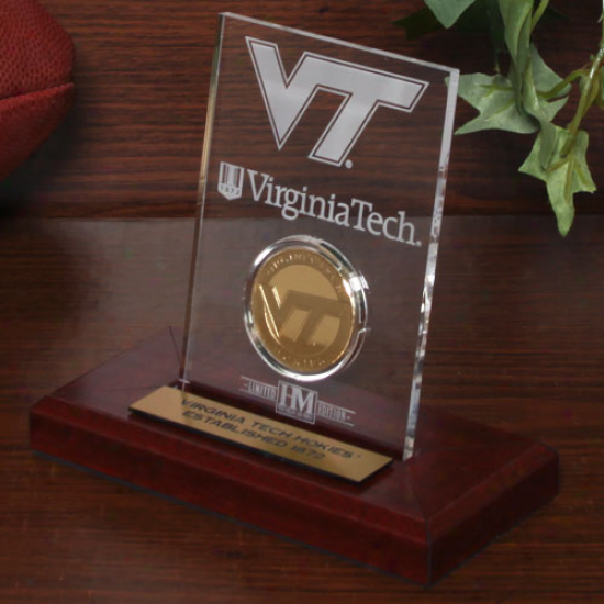 Virginia Tech Hokies 24kt Gol dCoin Etched Acrylic Plate