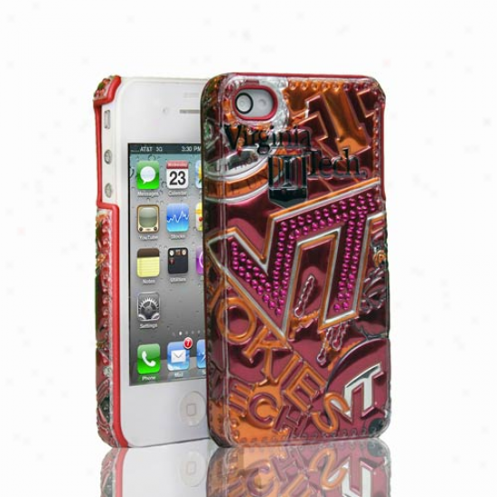 Virginia Tech Hokieq Iphone 4 Luxe 3d Soft-touch Hard Case