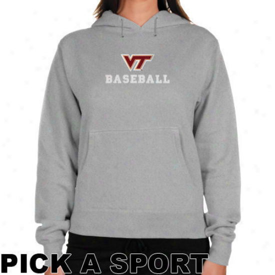 Virginia Tech Hokies Ladies Ash Custom Sport Logo Applique Lightweight Hoody -