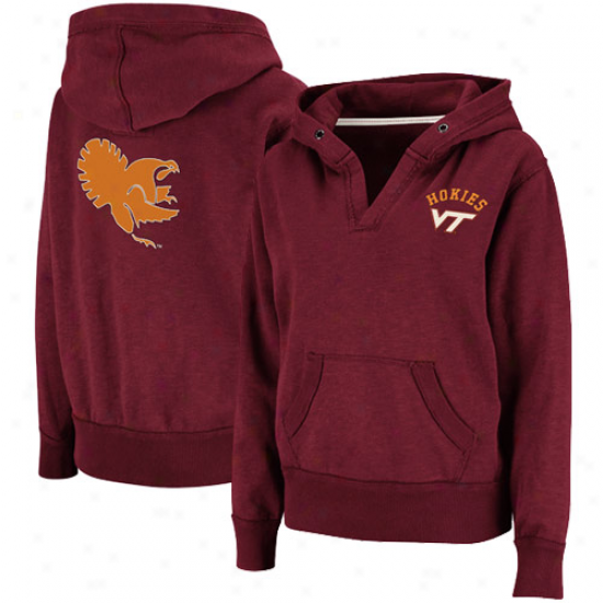 Virginia Tech Hkoies Ladies Maroon Balance Slub V-neck Pullover Hoodie Sweatshirt