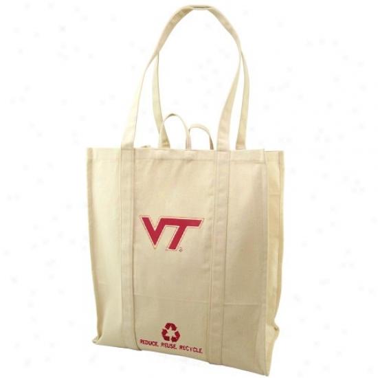 Virginia Tech Hokies Natural Resuable Organic Tote Bag