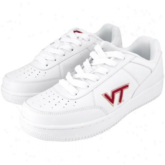 Virginia Tech Hokies White Team Logo Leather Tennis Shoes