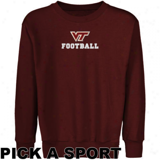 Virginia Tech Hokies Youth Maroon Custom Sport Logo Applique Crew Neck Cover fleecily Sweatshirt -