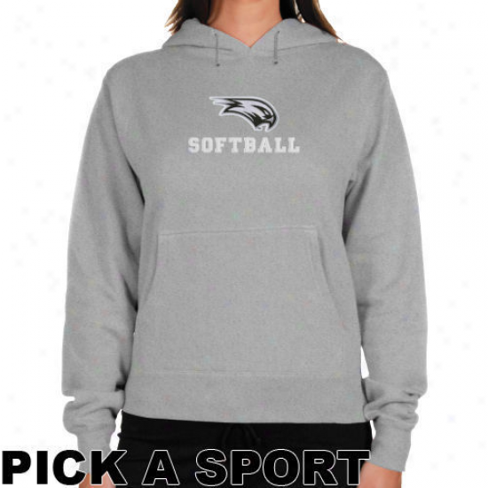 Wagner College Seahawks Ladies Ash Custom Sport Logo Applique Lightweight Hoody -