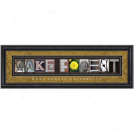 """wake Forest Demon Deacons 8"""" X 24"""" Framed Letter Art"""