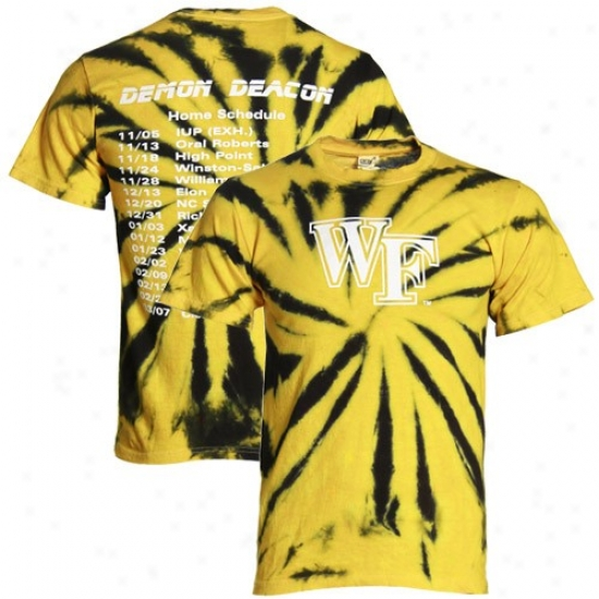 Wake Forest Demon Deacons Black-gold 2009-2010 Basketball Home Scroll Tie Dye T-shirt
