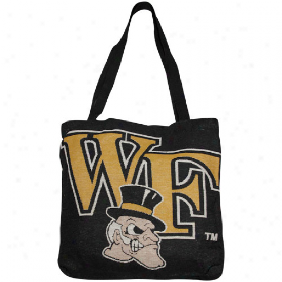 Wake Forest Demon Deacons Black Woven Tote Bag