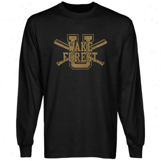 Wake Forest Demon Deacons Crossed Sticks Long Sleeve T-shirt - Black