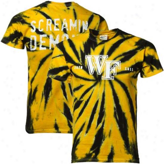 Wake Forest Demon Deacons Gold-black 2010-11 Screamin' Demon Tie-dye T-shirt