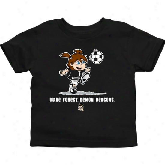 Wake Forest Demon Deacons Infant Girls Soccer T-shirt - Black