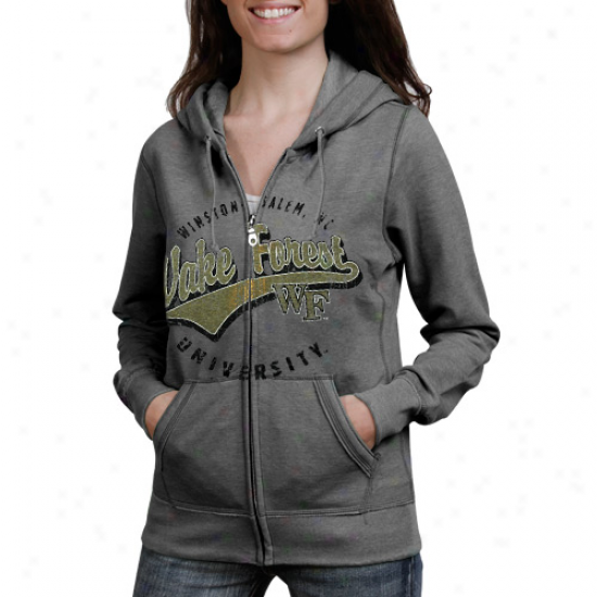 Wake Forest Demon Deacons Lzdies Ash Swept Full Zip Hoodie Sweatshirt