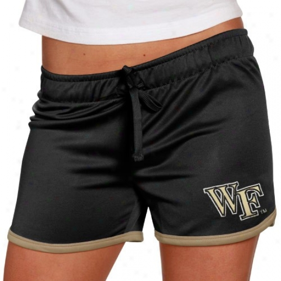Wake Forest Deon Deacons Ladies Black Kettle Shorts