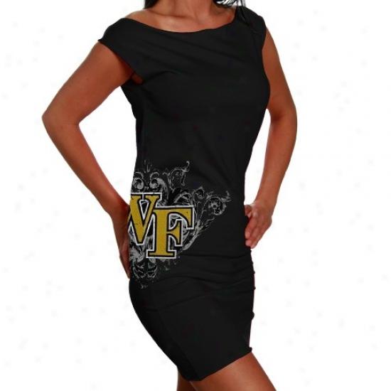Wske Forest Demon Deacons Ladies Black Raw Edge Jersey Dress