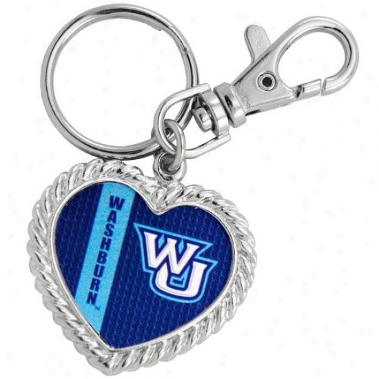 Washburn Ichabods Silvertone Heart Keychain