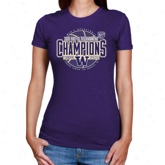 Washington Huskies Ladies 2011 Pac 10 Men's Basketball Tournament Champions T-shirt - Purple