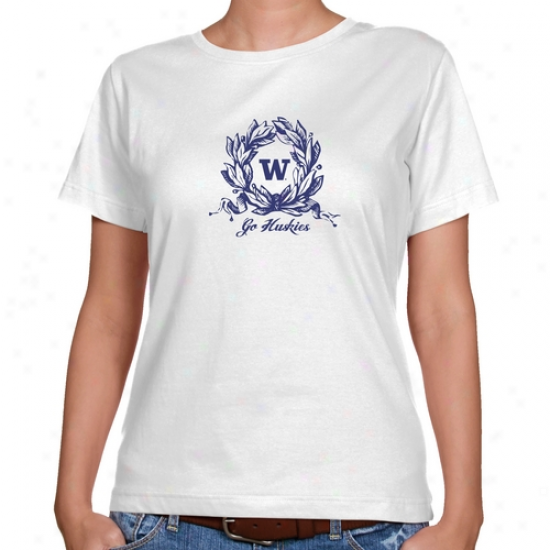 Washington Huskies Ladies White Ladies Wreath Classic Fit T-shirt