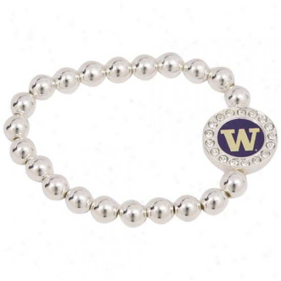 Washington Huskies Round Crystal Beaded Stretch Bracel3t