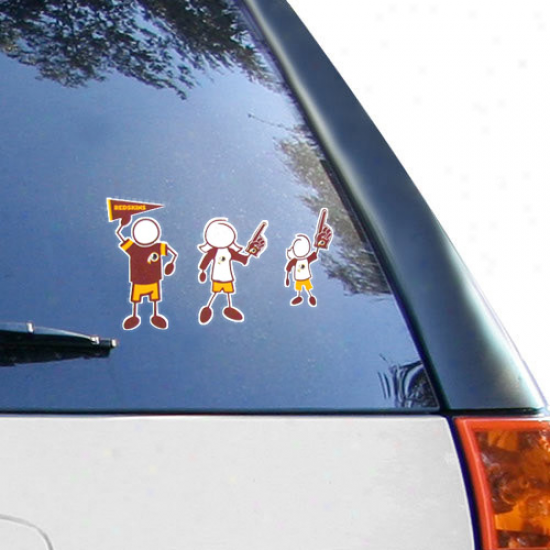 Washington Redskins 12'' X 12'' Family Car Decal Sheet