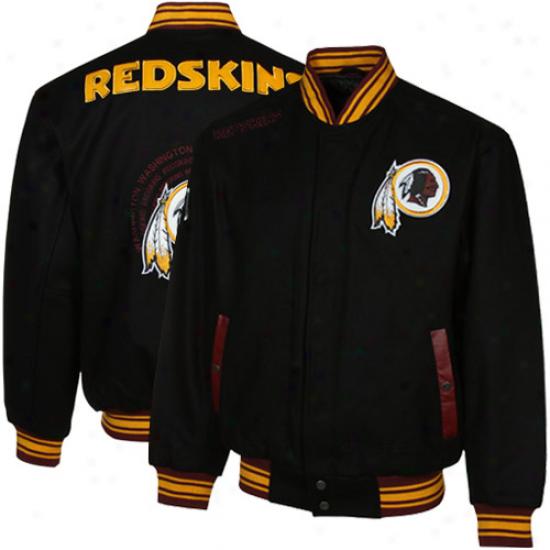 Washington Redskins Black Mv0 Heavhweight Wool Jacket
