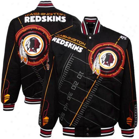 Washington Redskins Black On Point Midweight Twill Full Button Jacket
