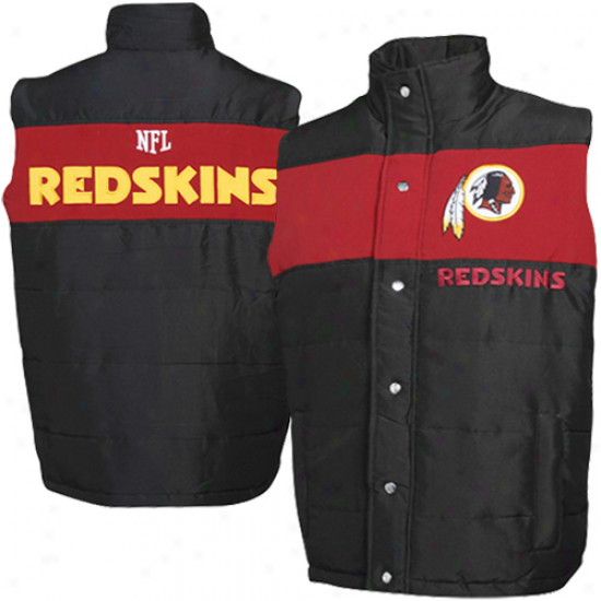 Washington Redskins Black Pick Off Puffer Vest